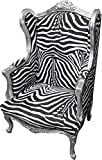 Casa Padrino Baroque Lounge Throne Zebra/Silver - Wing Chairs - wingback Chair Tron Chair
