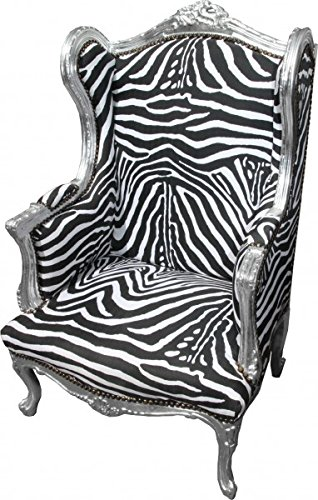 Casa Padrino Barock Lounge Thron Sessel Zebra/Silber - Ohren Sessel - Ohrensessel Tron Stuhl