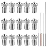 AFUNTA 15 PCS M6 3D Printer Stainless Steel Nozzles Print Heads Extruder Compatible 1.75mm E-3D Makerbot & ANET A8 & Creality CR-10, 5 Sizes (0.2/0.4/0.6/0.8/1.0mm) + 5 Sizes Cleaning Needles