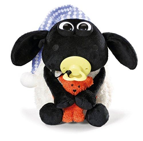 NICI 41470 Shaun das Schaf Kuscheltier Timmy mit kleinem Bär, Schnuller und Schlafmütze, 25 cm, Farbe: Weiß/Schwarz