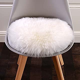 Cuteshower Round Faux Fur Sheepskin Rugs Soft Plush seat Cover Cushion Pad for Chair Living & Bedroom Sofa White 19.7 x 19.7