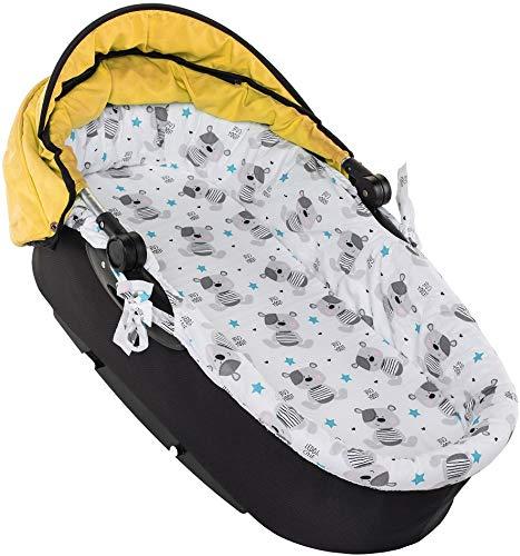 Nestchen für Kinderwagen Kinderwageneinlage Babywanne Stubenwagen + Matratze SET (Grauer Teddybär)