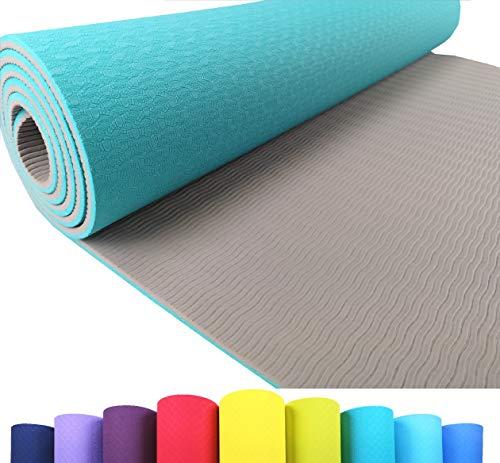 Iseaa Fitness, tappetino da yoga, antiscivolo in TPE, tappetino da ginnastica di alta qualità per yoga, pilates, fitness 183 x 61 x 0,6 cm Turchese / grigio chiaro