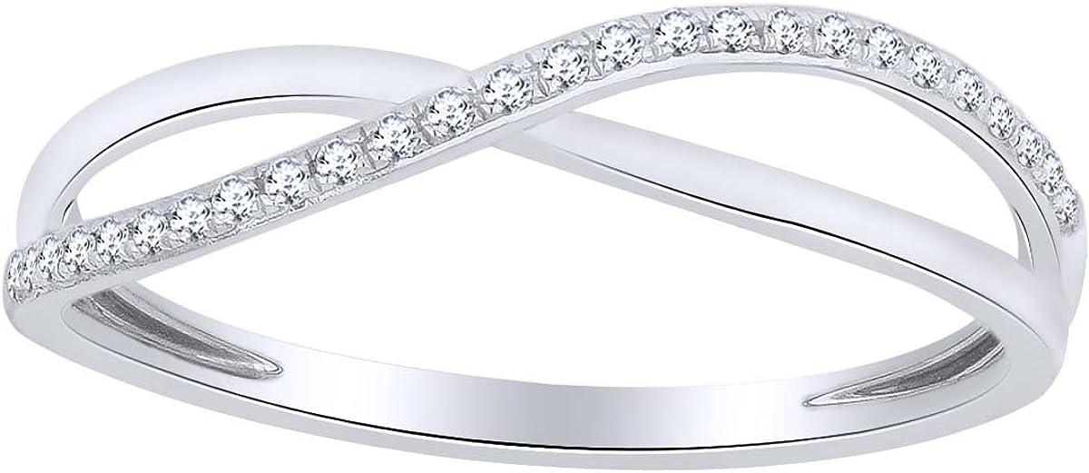 Round Cut White Natural Dallas Mall Diamond Crossover Ring Band Anniversary Super Special SALE held
