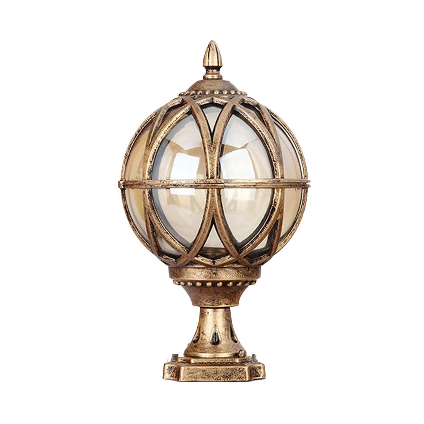 タール癒すの量柱ランプ屋外防水壁ランプ通りLEDランプバルコニーガーデンボールランプヴィラ中庭列ランプ (Color : Gold, Size : 17.5*17.5*32cm)