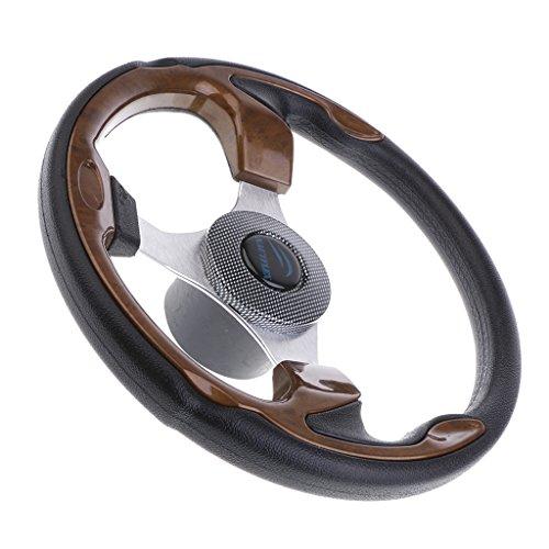 Almencla 3-Spoke 13-1/2 Inch Aluminum Boat Steering Wheel 3/4 Inch Shaft for Marine Yacht Pontoon Boats - Black & Brown