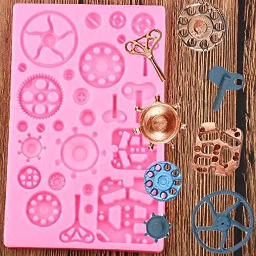 GEYKY Moldes de Silicona con Borde de Engranaje, Molde de Arcilla de Chocolate y Caramelo, Herramientas de decoración de Pasteles para cumpleaños de bebé