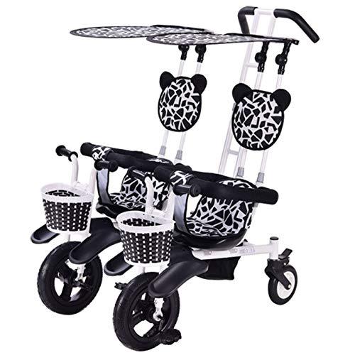 BrightFootBook Triciclo para Niños, Bicicleta para Bebé, Cinturones de 3 Puntos, con Fundas Toldo, 12 Meses a 4 Años, Capacidad de Carga 50kg para Padres Triciclo de Empuje
