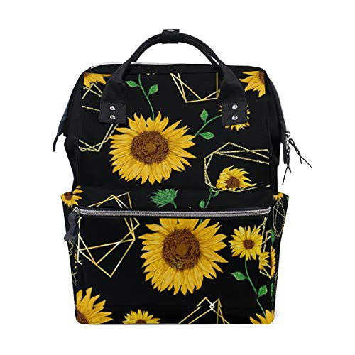 Beautiful Sunflower Backpack Baby Nappy Diaper Bag Travel Back Pack Lightweight Maternity Large Capacity Stylish Outdoor Tote Bag for Men Women Mommy Dad Baby Boy Girl