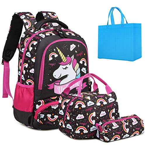 Girls Backpack Unicorn Backpack for Girls Elementary School Backpack for Kids Water Resistant School Bag with Lunch Tote Bag Pencil Purse Bag 3 in 1 Sets Bookbags