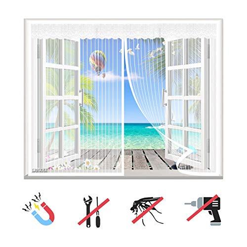 Magnet Fliegengitter Fenster, Insektenschutz Balkontür Fliegenvorhang Automatisch Schließen, ohne Bohren, für Balkontür Terrassentür Wohnzimmer-White-B|| 43x68inch(110x175cm)