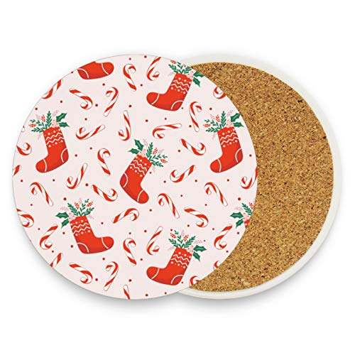 Christmas Decor Red Sockd Coasters for Drinks 2 Pieces Set Xmas Candy Cane Bar Cup Coaster Coffee Mug Glass Pad Tabletop Protection Mat for Housewarming Table Kitchen Dining Home Decor