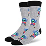 Men's Novelty Crazy Funny Space Alien Rock and Roll Punk Style Cotton Crew Socks