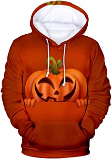 Holzkary Women's Horror Halloween Clothes Funny 3D Printed Party Pullover Tops Casual Long Sleeve Hoodie Sweatshirts