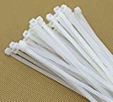 Wonder Quick Tie 8' Inch Cable Ties 200 MM *3 MM White Nylon Zip Wire Organizer/ Self Locking Tie (100Pcs)