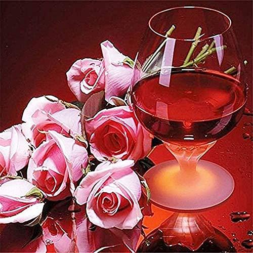 AYLCFC - Kit de pintura de diamante de vino, color rosa D DIY, número de diamantes con taladro completo, bordado de estrás de cristal, ideal para la casa, decoración de pared, 60 x 60 cm