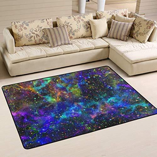Joe-shop Universe Nebula Starry Alfombras Antideslizantes para Sala de Estar Alfombra de Dormitorio Alfombra para niños Alfombra para Suelo Estera de Yoga 60x39 Pulgadas / 150x100cm RUG-605