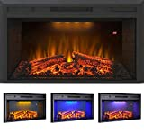 Flameline 33' Roluxy Recessed Electric Fireplace Insert with Brick Panel, Log Speaker and 3 Light Color and 5 Flame Intensity with Remote, 750/1500W, Black