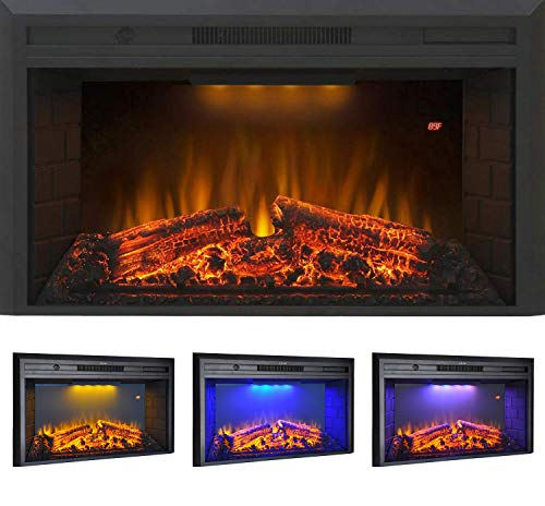 """Flameline 33"""" Roluxy Recessed Electric Fireplace Insert with Brick Panel, Log Speaker and 3 Light Color and 5 Flame Intensity with Remote, 750/1500W, Black"""