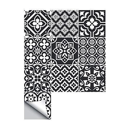 TYV Muurstickers Decoraties Badkamer creatieve zwart-wit patroon anti-slip tegel sticker, thuis keuken DIY decoratie antislip vloer sticker - 10 stks