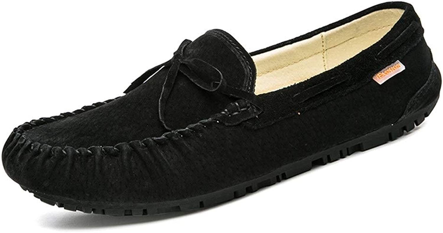 Easy Go Shopping Driving Loafer for Men Boat Moccasins Slip On Style Pigskin Leather Fashion Bowknot Pure colors Cricket shoes (color   Black, Size   8.5 UK)