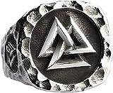 WDBAYXH Viking Totem Titanium Steel Ring Titanium Steel Norse Viking Valknut Signet Ring with Vegvisir Compass for Men Women (Size : 9)