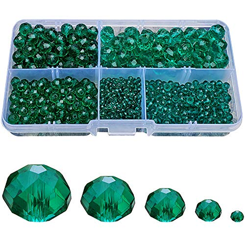 Chengmu 2-10mm Peacock Green Rondelle Glass Beads for Jewelry Making 710pcs Faceted Briolette Shape Crytal Spacer Beads Assortments Supplies Accessories for Bracelet Necklace with Cord