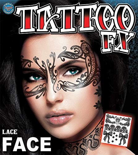Epic Armoury MW-131280 Lace Temporary Face Tattoo-Transfer, Unisex-Erwachsene