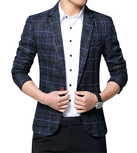 ZiXing Giacca Blazer Elegante Uomo Slim Fit Vintage Formale da Sera Large L