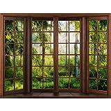 Fototapeten Fenster Wald 352 x 250 cm - Vlies Wand