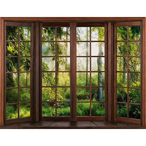 Runa Art Fototapete Fenster Wald Modern Vlies Wohnzimmer Schlafzimmer Flur - made in Germany - Braun Grün 9383010c