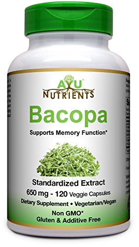 Organic Bacopa Extract (60% Bacopa Saponins) 650 mg -120 Vcaps | Made in USA | Highest Potency on The Market - Supports Memory,Focus & More (2 Months Supply)
