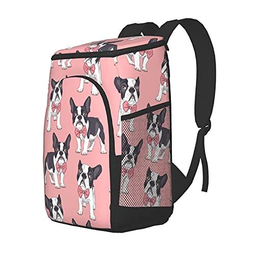Funny Club Mochila suave con forro duro, bulldog francés con pajarita en rosa, grande, aislante, para almuerzo, para pícnic