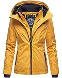 Marikoo Damen Regen Jacke Outdoor Regenjacke Winterjacke Fleece Gefüttert Kapuze XS - XXL Erdbeere (L, Gelb)