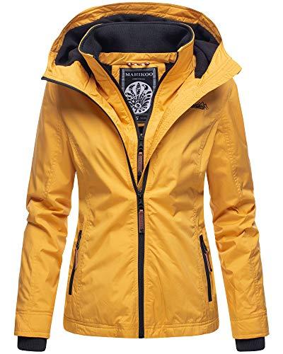 Marikoo Damen Regen Jacke Outdoor Regenjacke Winterjacke Fleece Gefüttert Kapuze XS - XXL Erdbeere (M, Gelb)