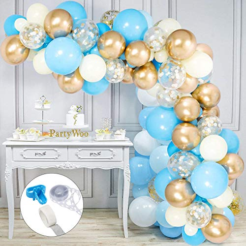 100Pcs Balloon Arch Kit, Blue Gold Balloon Garland,Including Chrome Gold, Ivory, Light Blue & White Gold Light Blue Confetti Balloons Decoration, for Boys Birthday Baby Bridal Shower Party
