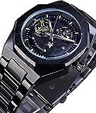 QHG Relojes Negros de Doble Sub-dial Retro para Hombres Relojes Únicos de Acero Inoxidable de Acero Inoxidable con Manos Luminosas Top Marca