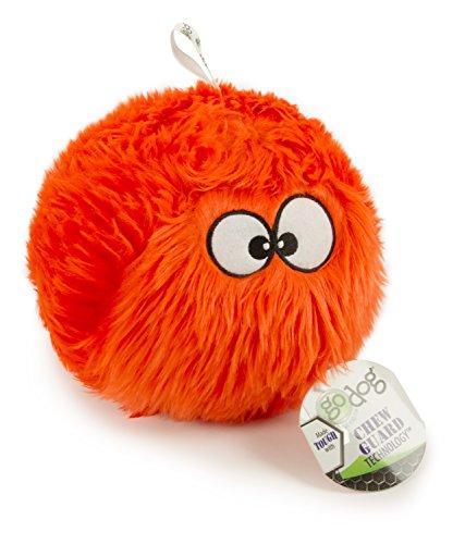 goDog Furballz Tough Plush Dog Toy with Chew Guard Technology, Orange, Large, Model Number: 770123