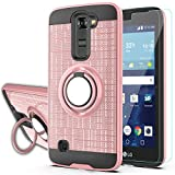 LG Tribute 5 Case,LG Treasure LTE Phone Cases with HD Phone Screen Protector,YmhxcY 360 Degree Rotating Ring & Bracket Dual Layer Resistant Back Cover for LG K7-ZH Rose Gold