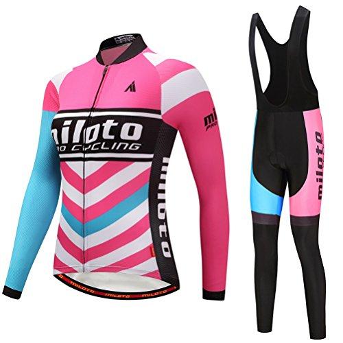 Uriah Women's Cycling Jersey Bib Pants Black Sets Long Sleeve Reflective Waves Pink Size S(CN)