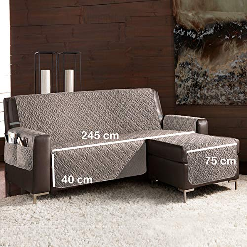 la biancheria di casa Slippy Plus CopriDivano Trapuntato Antiscivolo 3D (Seduta 245 cm Penisola Destra (Vista Frontale), Tortora)