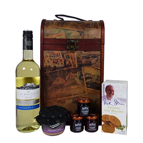 Las Montanas White Wine 750ml and Food Hamper Presented in a Clarendon Vintage Style Chest - Gift Ideas for Mum, Mothers Day, Dad, Fathers Day, Him, Her, Christmas presents, Birthday, Anniversary, Corporate, Business, Thank you