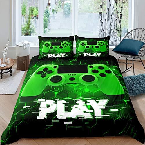 Verde Gamepad Funda nórdica Videojuego Gamepad 200x200cm Funda de edredón Controlador de Juego Juego de Ropa de Cama para niños Adultos Panal geométrico