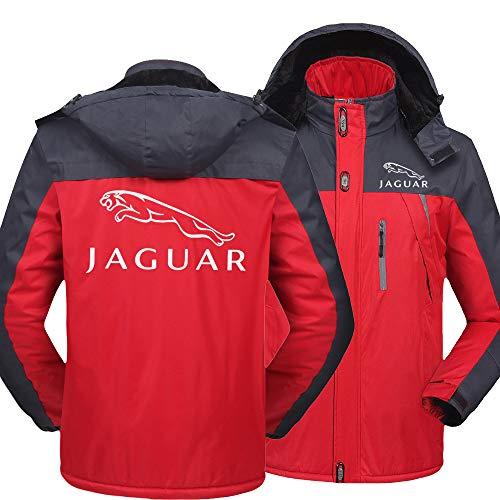 NISHUSHANW Herren Wasserdicht Hooded Jacke Berg Ski Vlies Zum Jaguar Beiläufig Jacken Windbreaker Warm Mantel Y/Rot/XXXXL