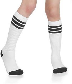 Baby, Toddler & Kids Knee High Tube Socks For Boys & Girls With Grips (6-10 Years (Size 1-4), White/Black)