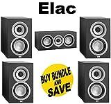 (1 Pair) ELAC Uni-fi UB5 Bookshelf Speaker (Black, Pair) + ELAC Uni-fi UC5 Center Speaker (Black, Single) Bundle