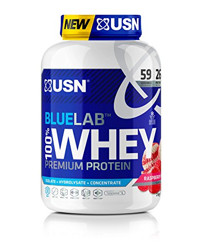 USN Blue Lab Whey Raspberry Ripple 2 kg, 100 Percent Lean Muscle Protein Powder, Ideal for Recovery & Maintenance (Packaging may Vary)