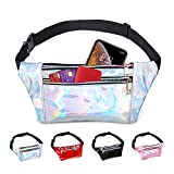 swelldom Fanny Pack Belt Bag, Holographic Fanny Packs Women Men Kids, Fashion Waist Pack 3 Pouches Adjustable Strap, Shiny Causal Bags Cute Bum Bag Hip Sacks for Travel Festival Hiking Rave
