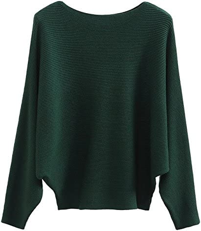 GABERLY Boat Neck Batwing Sleeves Dolman Knitted Sweaters and Pullovers Tops for Women Green product image
