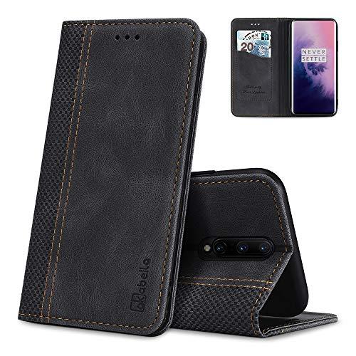 AKABEILA Oneplus 7 Pro Hülle Leder, Oneplus 7 Pro Handyhülle Silikon, Kompatibel für Oneplus 7 Pro Schutzhülle Brieftasche Klapphülle PU Magnetverschluss Kartenfächer Hüllen, Schwarz